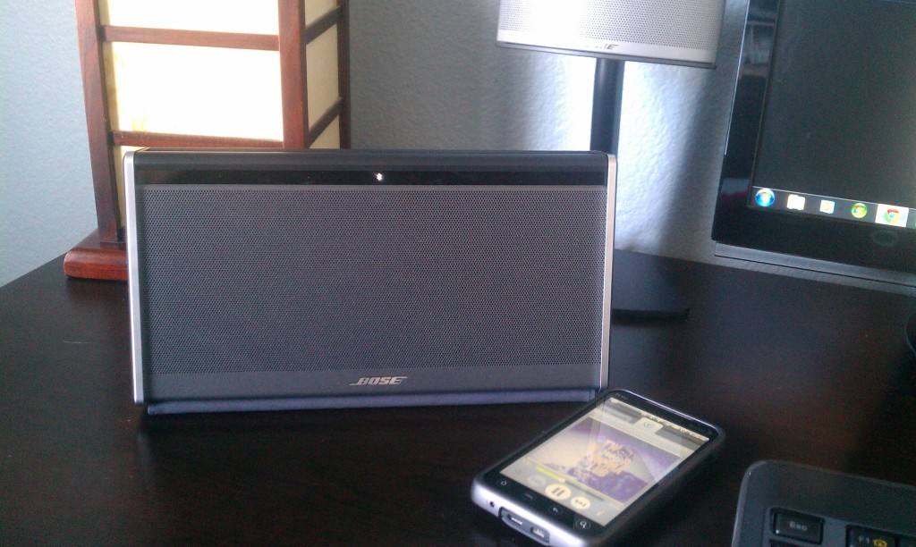 Bose Soundlink Wireless Mobile Speaker connected to Spotify on my EVO