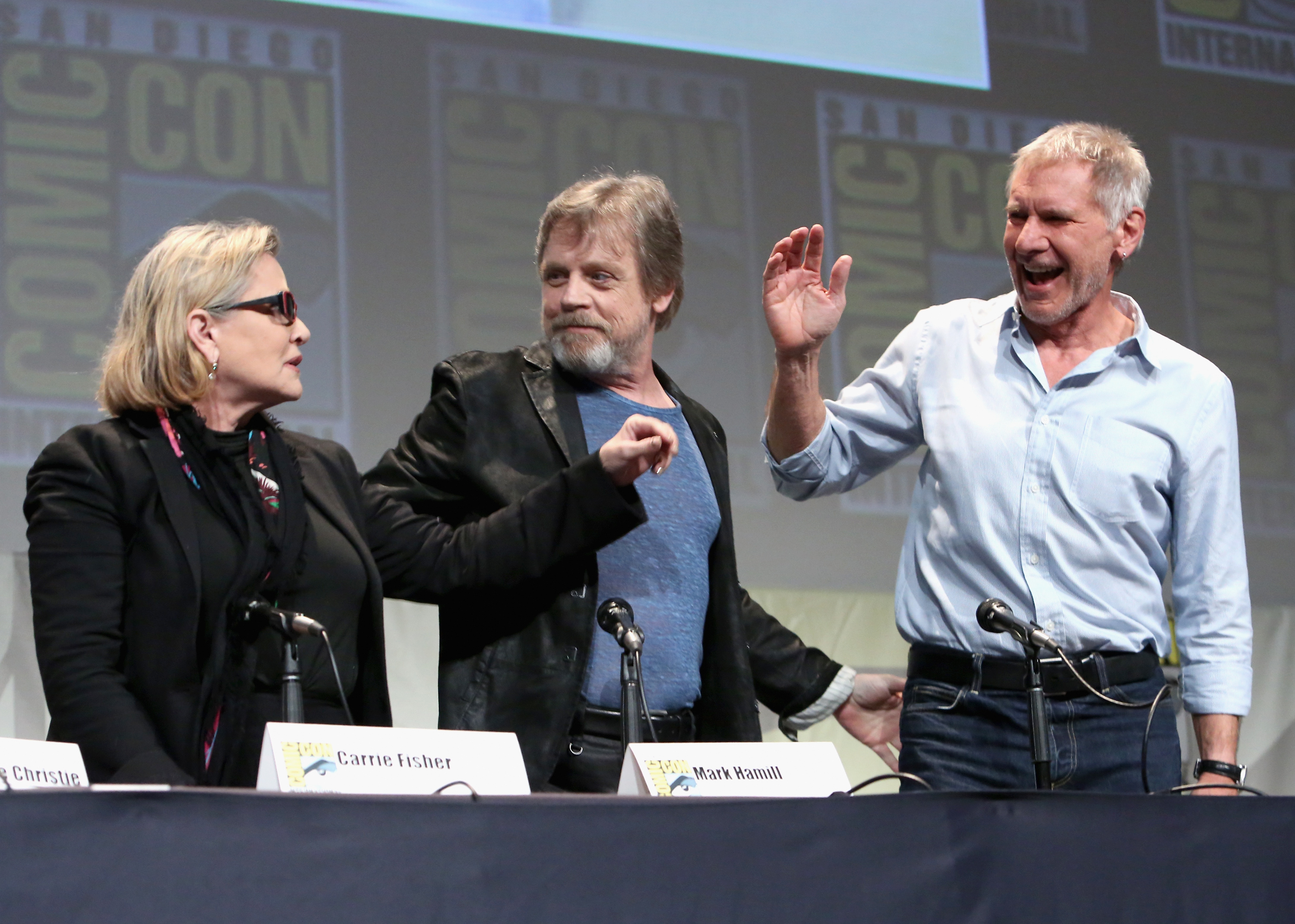 Carrie Fisher, Mark Hamill & Harrison Ford @ The Force Awakens Panel